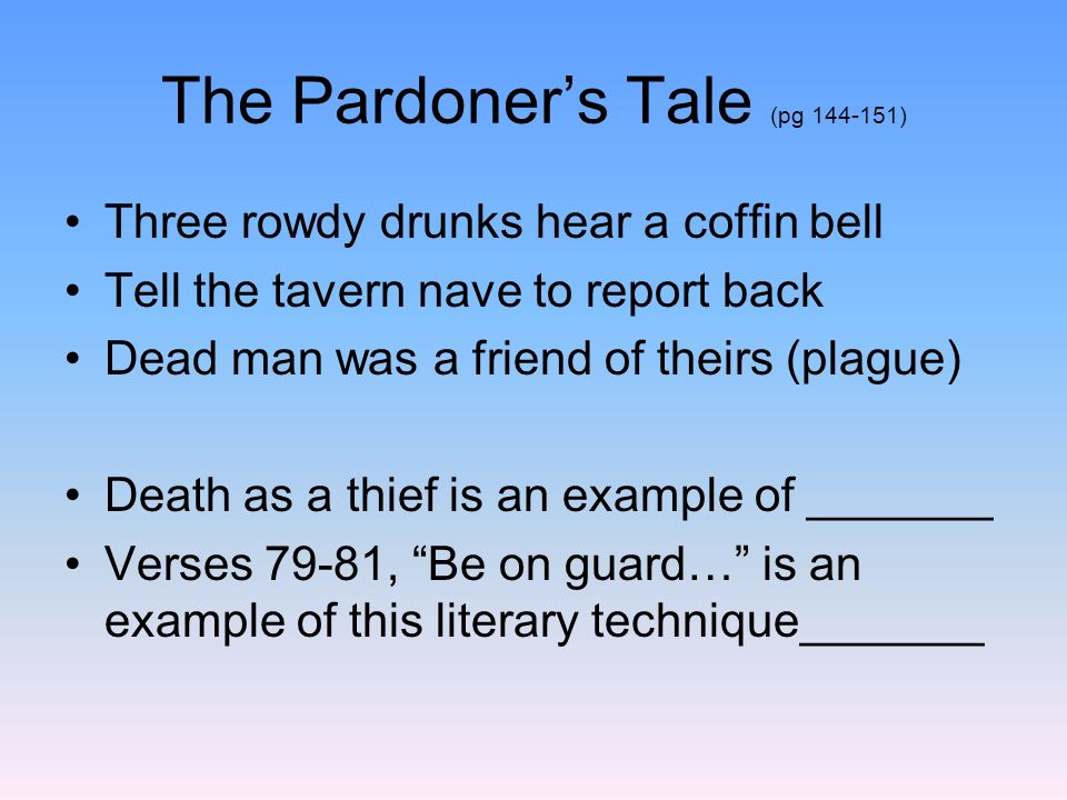 The Pardoners Tale Personification Foreshadowing