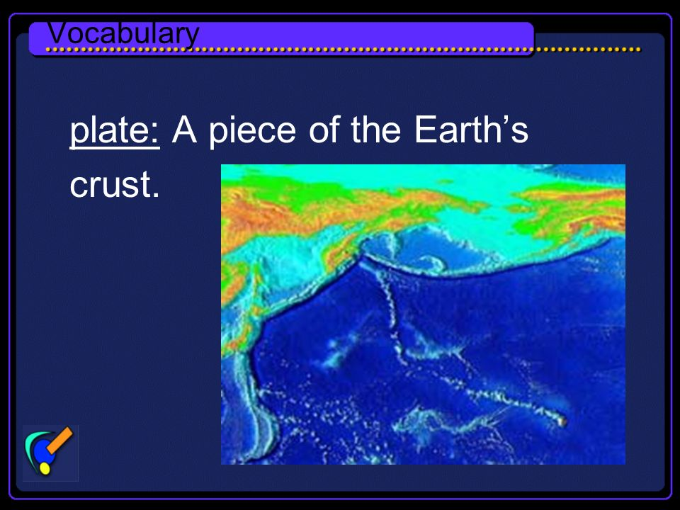 Vocabulary plate: A piece of the Earths crust.