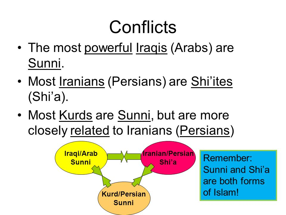 Conflicts The most powerful Iraqis (Arabs) are Sunni. Most Iranians (Persians) are Shiites (Shia). Most Kurds are Sunni, but are more closely related