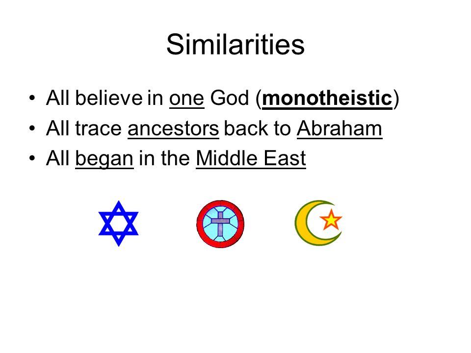 Similarities All believe in one God (monotheistic) All trace ancestors back to Abraham All began in the Middle East