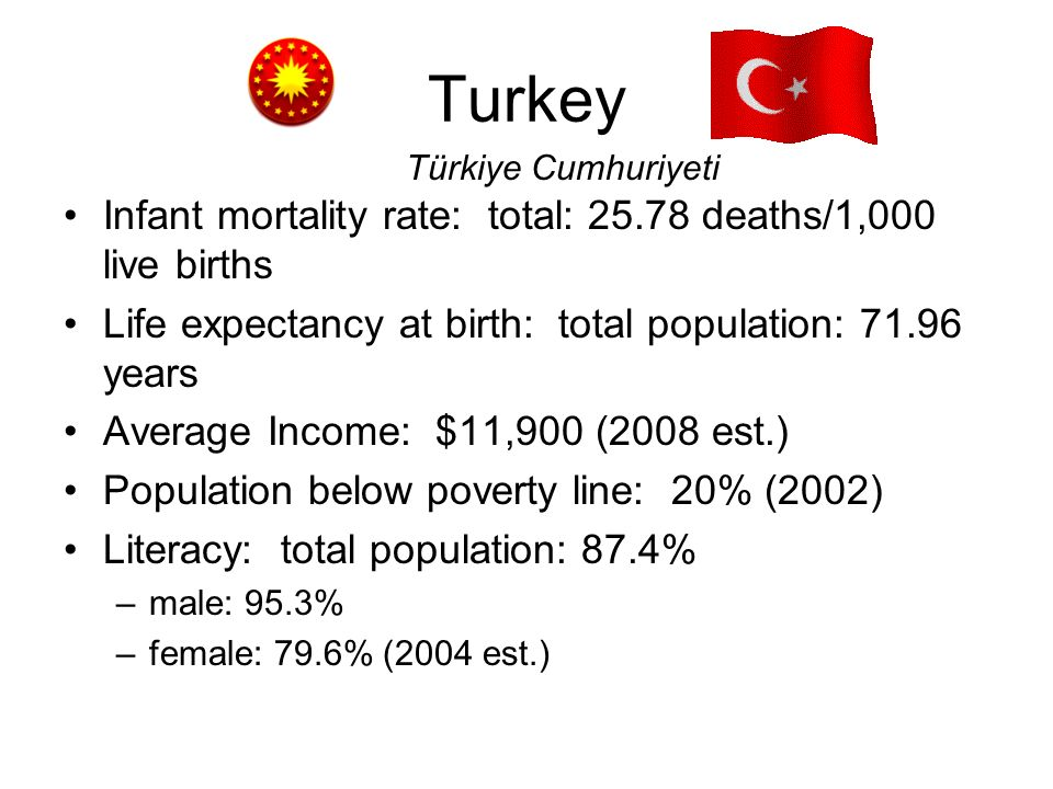 Turkey Infant mortality rate: total: 25.78 deaths/1,000 live births Life expectancy at birth: total population: 71.96 years Average Income: $11,900 (2