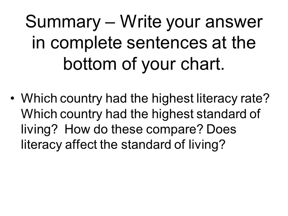 Summary – Write your answer in complete sentences at the bottom of your chart. Which country had the highest literacy rate? Which country had the high