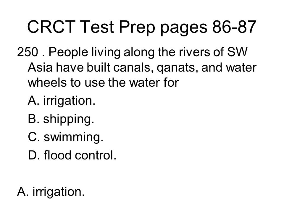 CRCT Test Prep pages 86-87 250.