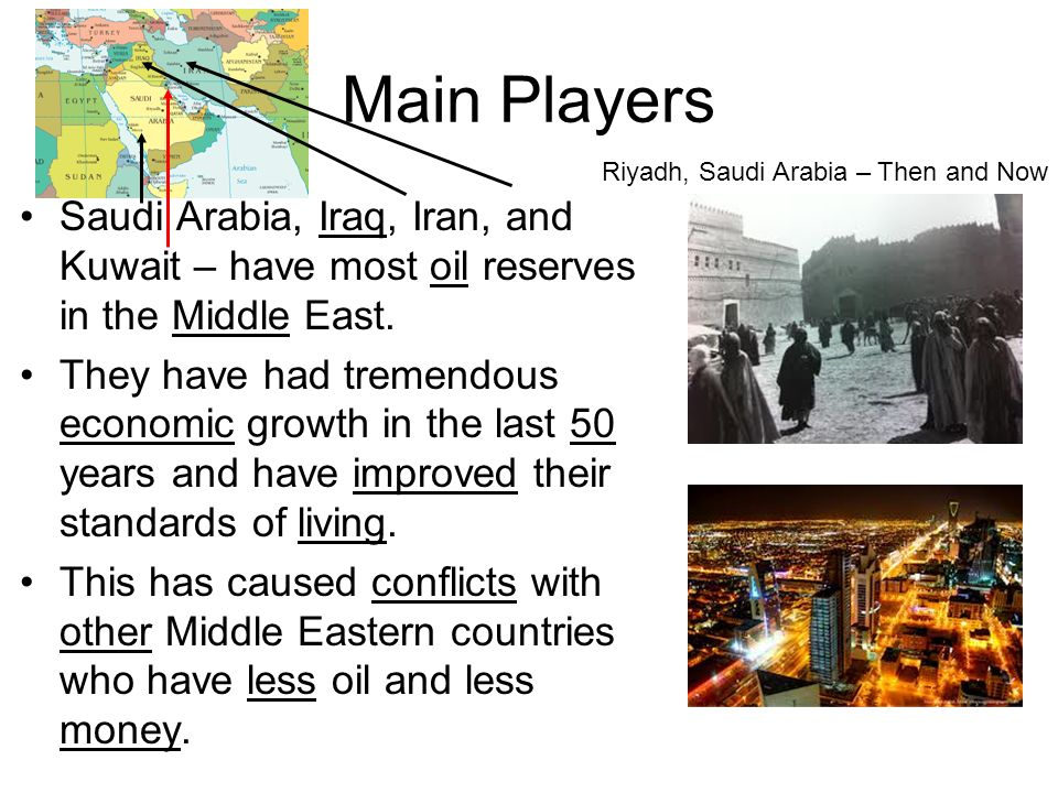 Main Players Saudi Arabia, Iraq, Iran, and Kuwait – have most oil reserves in the Middle East.