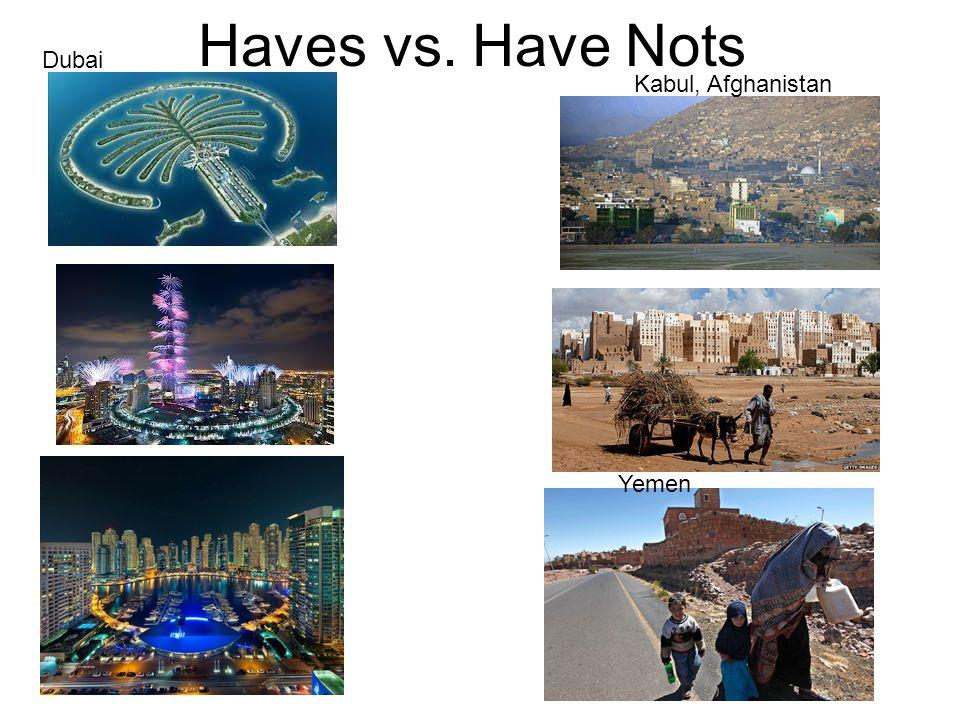Haves vs. Have Nots Kabul, Afghanistan Yemen Dubai