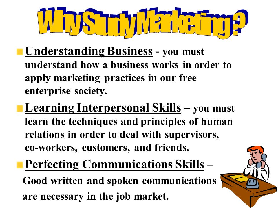 Understanding Business - you must understand how a business works in order to apply marketing practices in our free enterprise society.