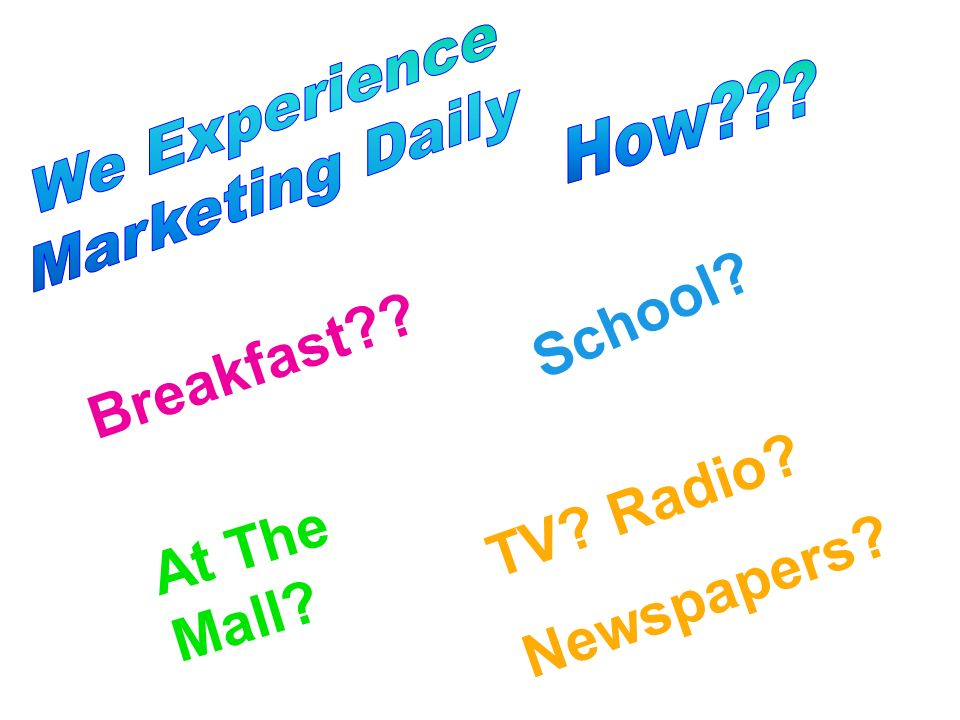 Breakfast?? School? At The Mall? TV? Radio? Newspapers?