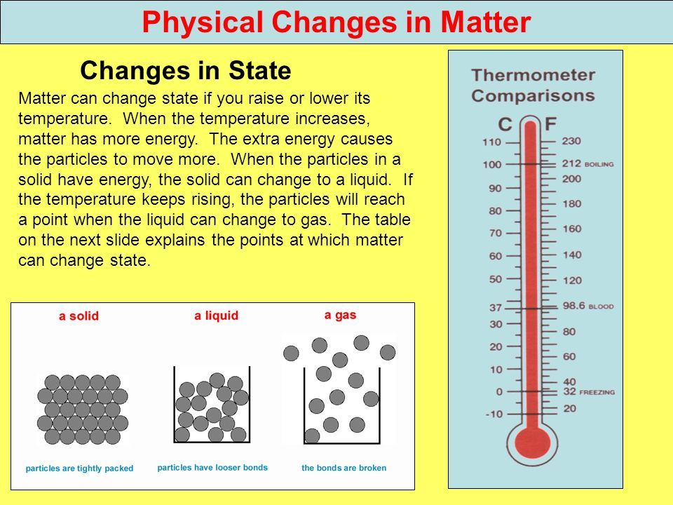 Physical Changes in Matter Changes in State Matter can change state if you raise or lower its temperature. When the temperature increases, matter has