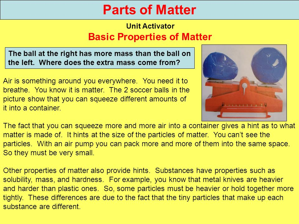 Parts of Matter Unit Activator Basic Properties of Matter The ball at the right has more mass than the ball on the left. Where does the extra mass com