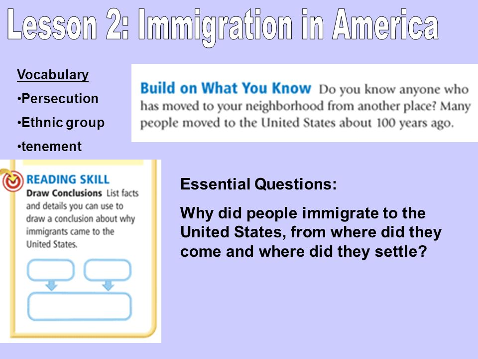Vocabulary Persecution Ethnic group tenement Essential Questions: Why did people immigrate to the United States, from where did they come and where di