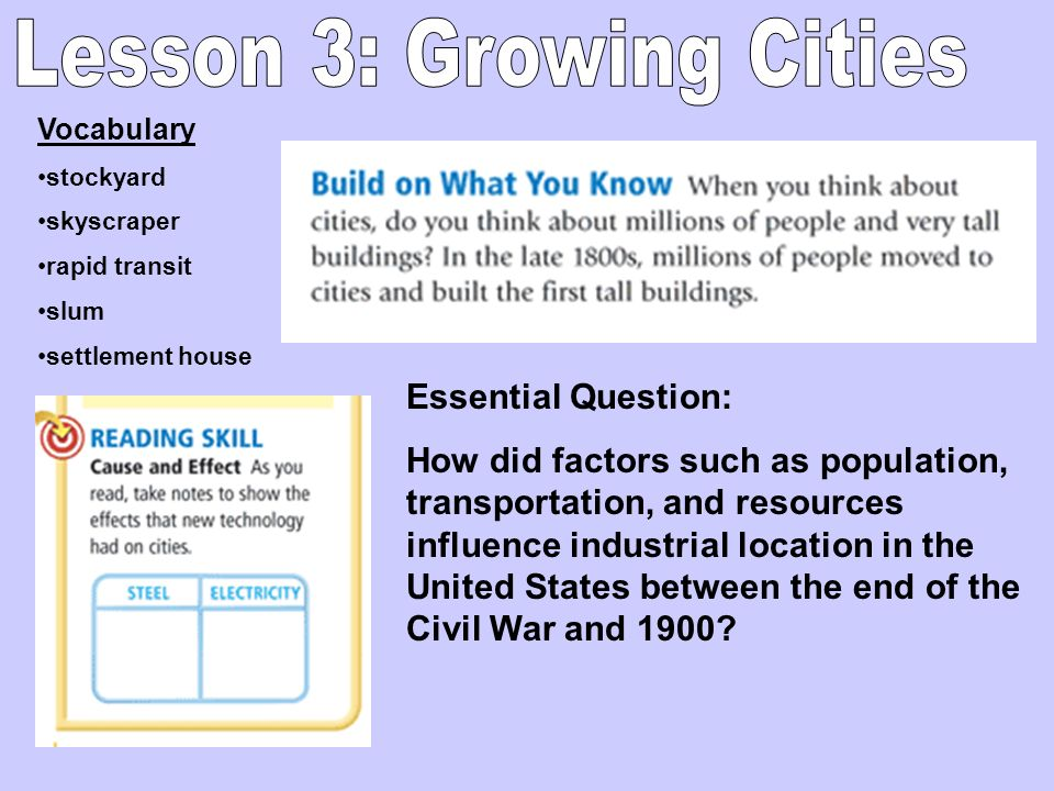 Vocabulary stockyard skyscraper rapid transit slum settlement house Essential Question: How did factors such as population, transportation, and resour