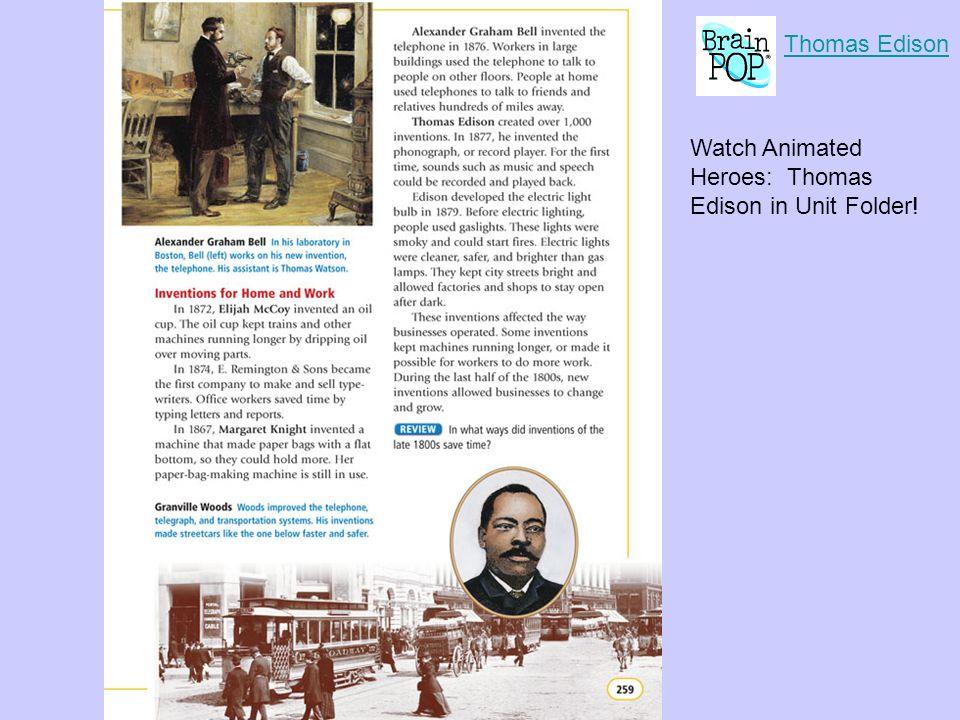 Thomas Edison Watch Animated Heroes: Thomas Edison in Unit Folder!