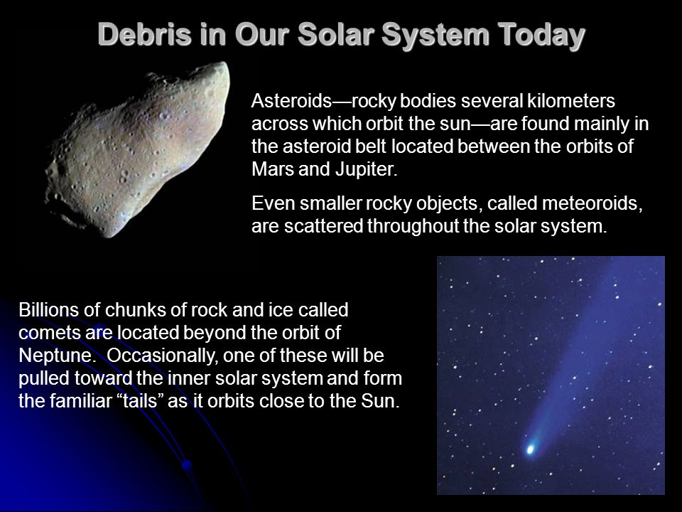 Debris in Our Solar System Today Asteroidsrocky bodies several kilometers across which orbit the sunare found mainly in the asteroid belt located betw