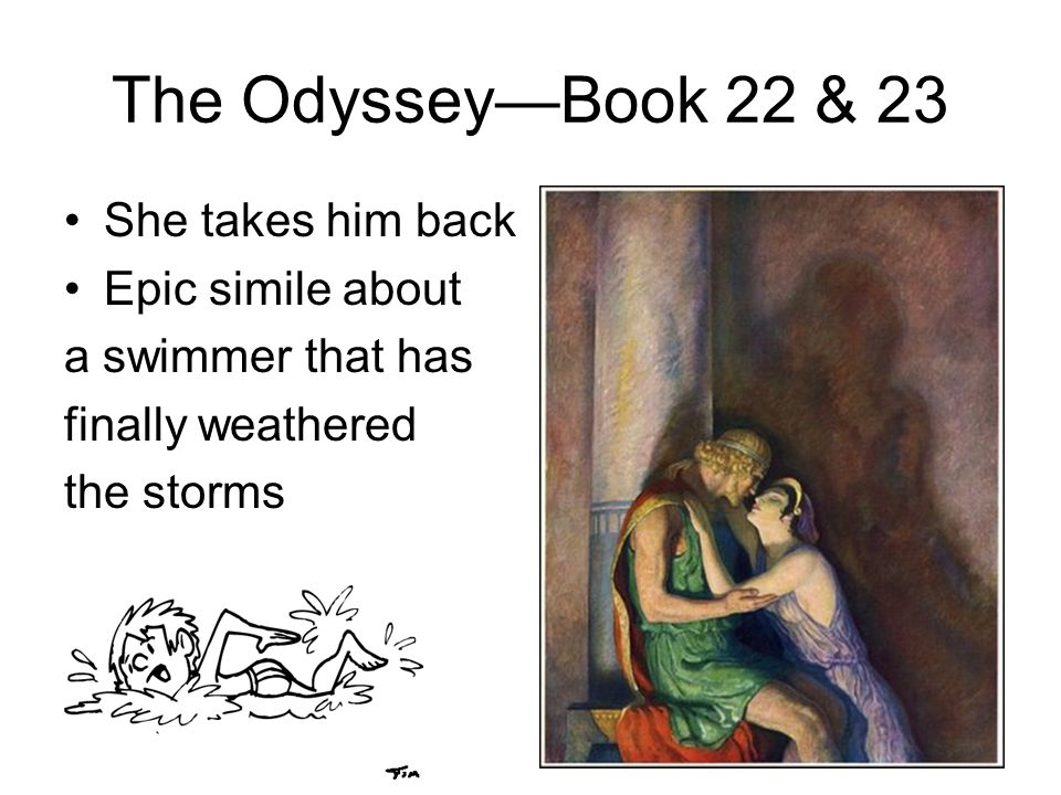 The OdysseyBook 22 & 23 She takes him back Epic simile about a swimmer that has finally weathered the storms