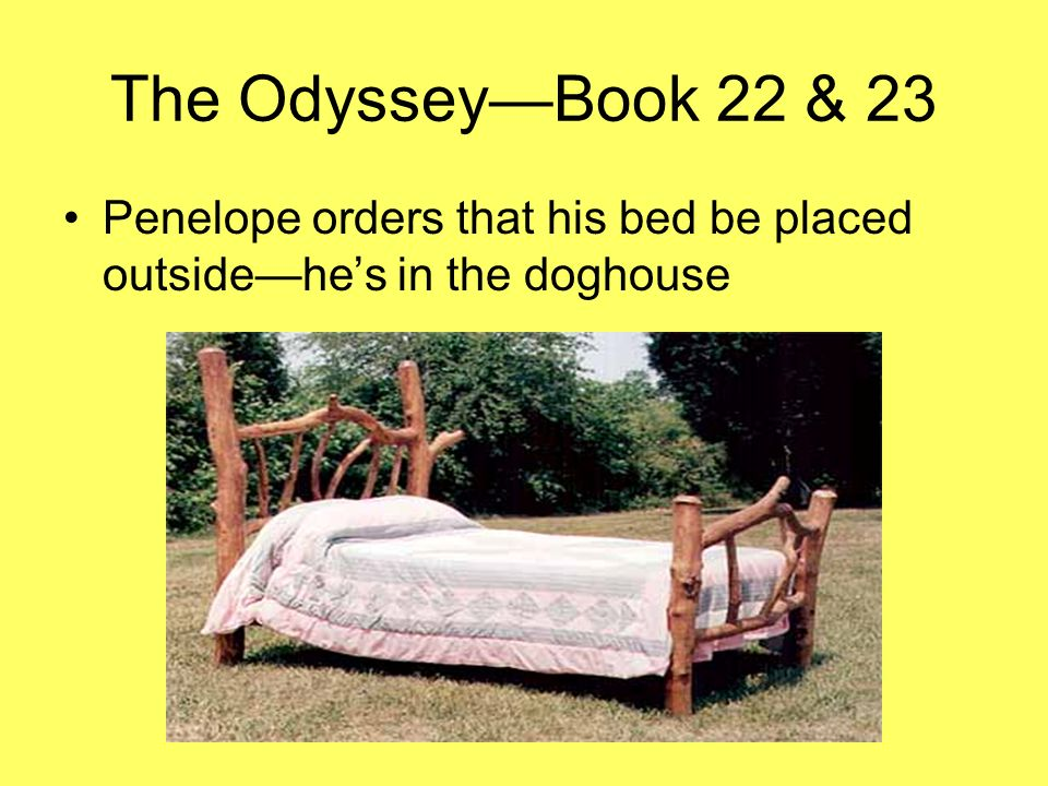 The OdysseyBook 22 & 23 Penelope orders that his bed be placed outsidehes in the doghouse