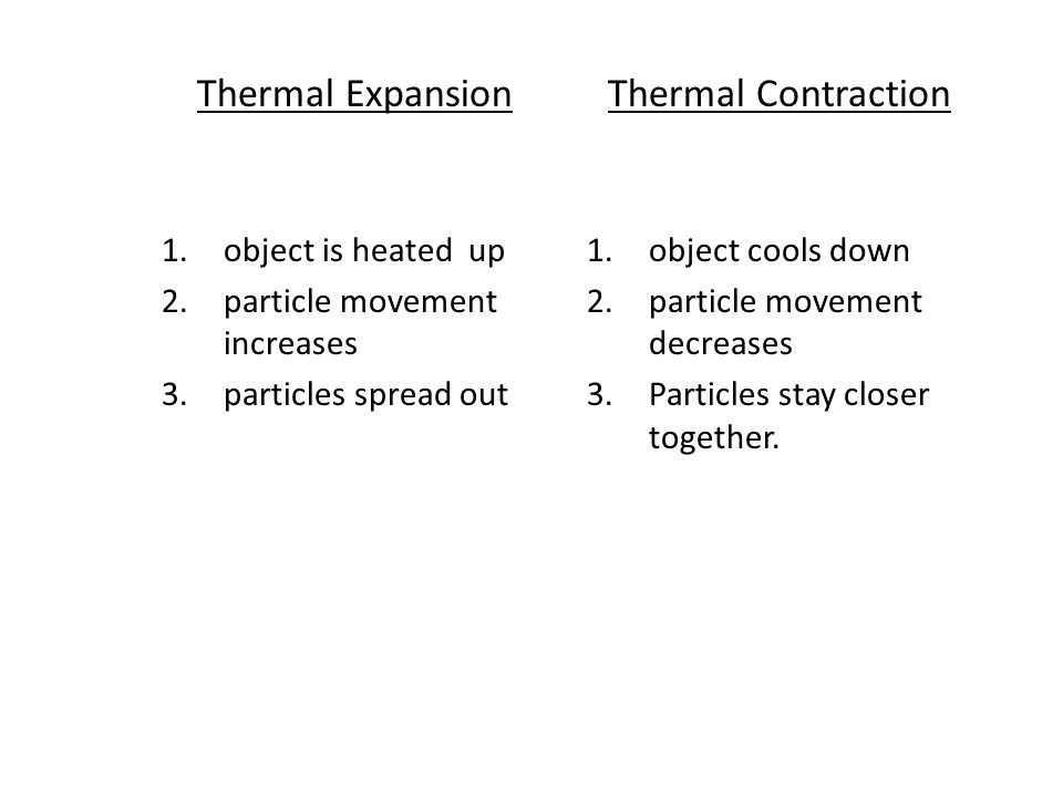 Thermal Expansion 1.object is heated up 2.particle movement increases 3.particles spread out Thermal Contraction 1.object cools down 2.particle moveme