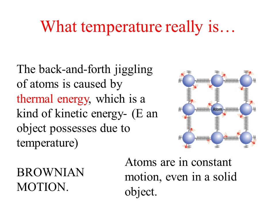 What temperature really is… The back-and-forth jiggling of atoms is caused by thermal energy, which is a kind of kinetic energy- (E an object possesse
