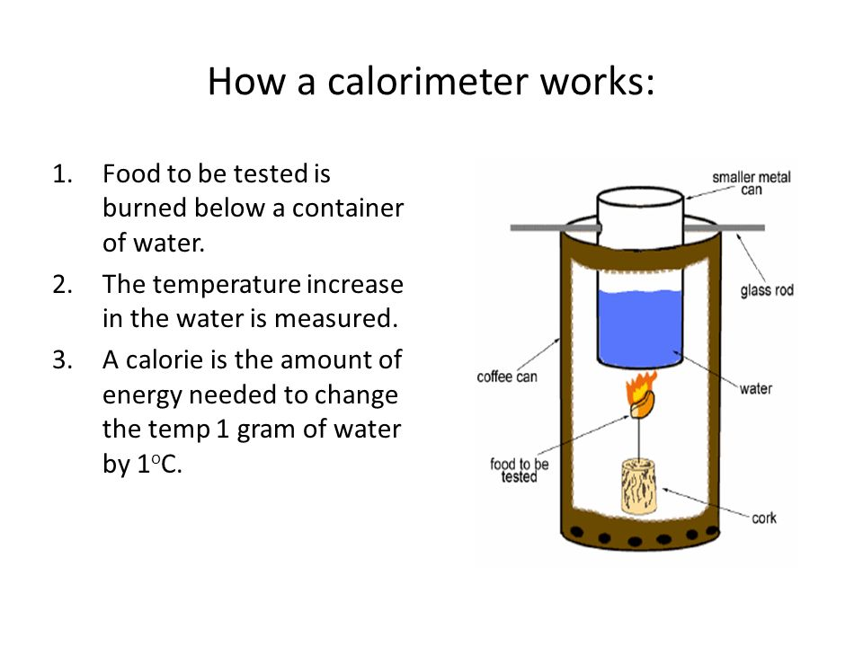 How a calorimeter works: 1.Food to be tested is burned below a container of water. 2.The temperature increase in the water is measured. 3.A calorie is