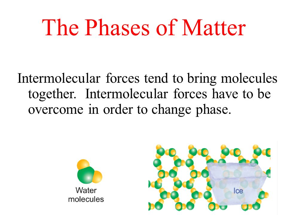 The Phases of Matter Intermolecular forces tend to bring molecules together. Intermolecular forces have to be overcome in order to change phase.