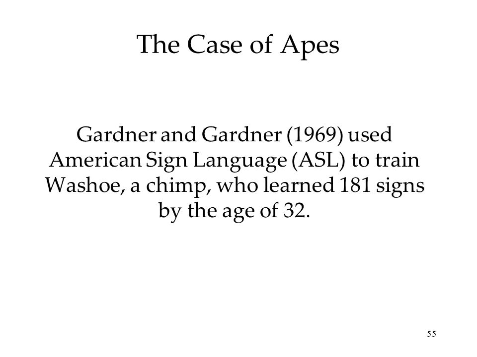 55 The Case of Apes Gardner and Gardner (1969) used American Sign Language (ASL) to train Washoe, a chimp, who learned 181 signs by the age of 32.