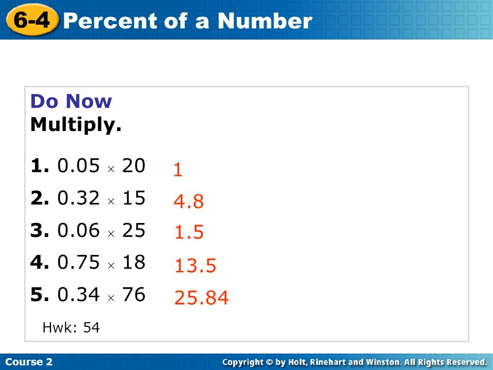 Learn to find the percent of a number.