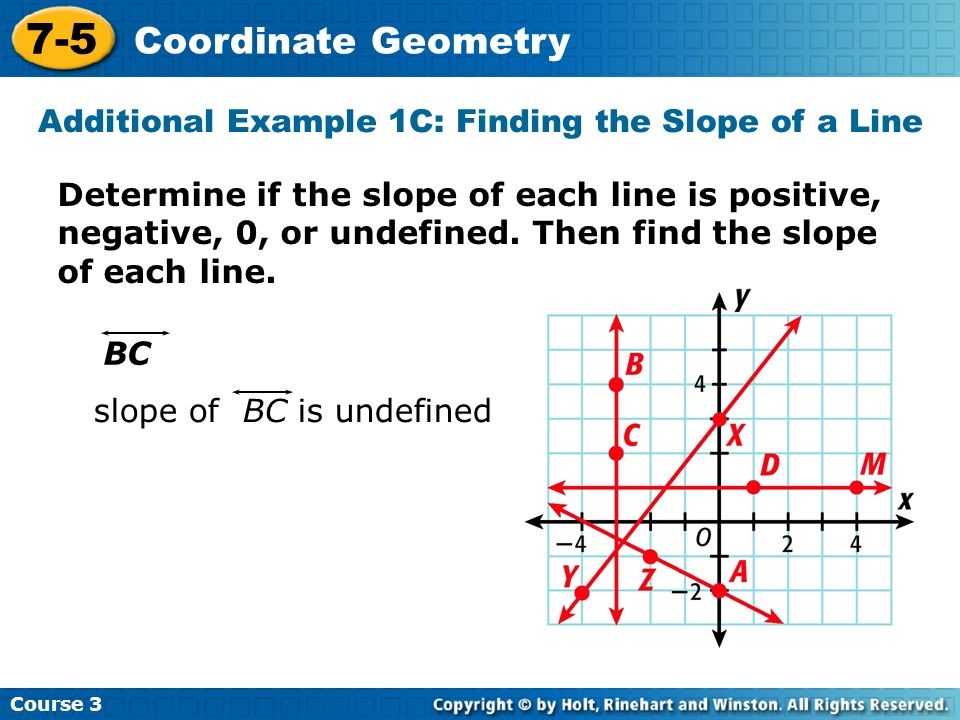 Course 3 7-5 Coordinate Geometry Determine if the slope of each line is positive, negative, 0, or undefined. Then find the slope of each line. BC slop