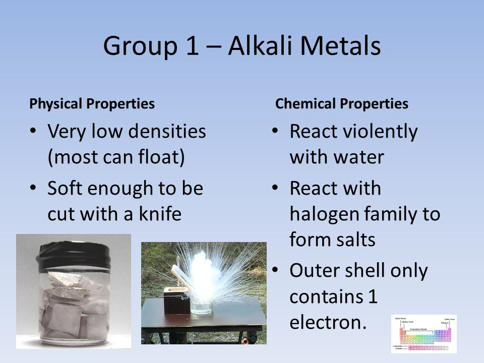 Group 1 – Alkali Metals Physical Properties Very low densities (most can float) Soft enough to be cut with a knife Chemical Properties React violently