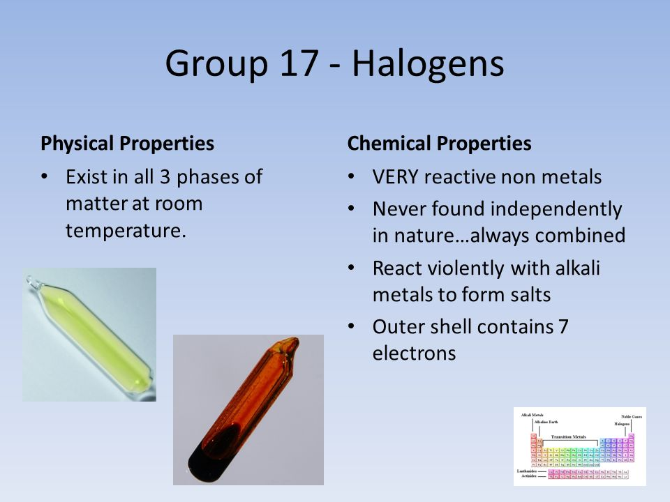 Group 17 - Halogens Physical Properties Exist in all 3 phases of matter at room temperature.