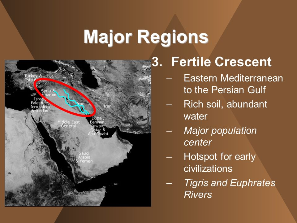 3.Fertile Crescent –Eastern Mediterranean to the Persian Gulf –Rich soil, abundant water –Major population center –Hotspot for early civilizations –Ti