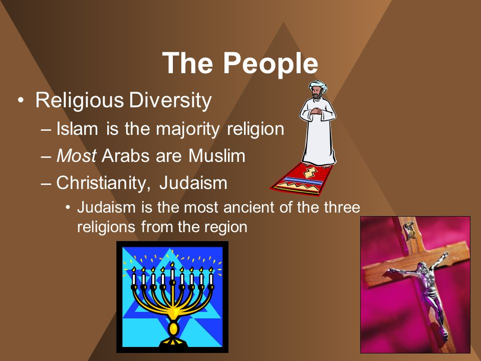 The People Religious Diversity –I–Islam is the majority religion –M–Most Arabs are Muslim –C–Christianity, Judaism Judaism is the most ancient of the