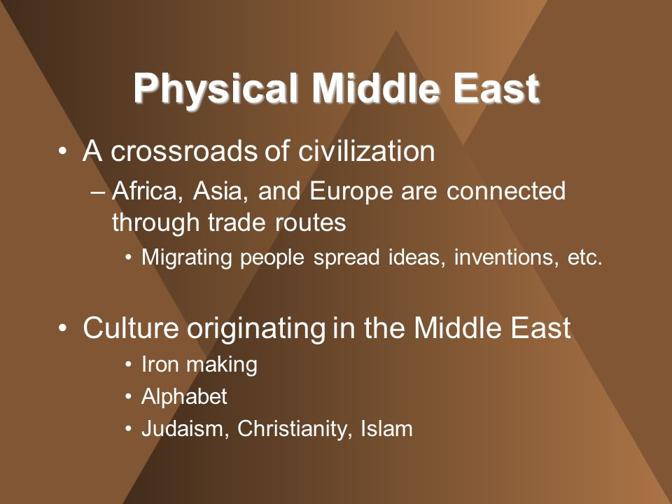 A crossroads of civilization –Africa, Asia, and Europe are connected through trade routes Migrating people spread ideas, inventions, etc. Culture orig