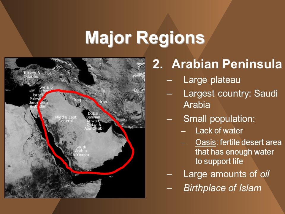 2.Arabian Peninsula –Large plateau –Largest country: Saudi Arabia –Small population: –Lack of water –Oasis: fertile desert area that has enough water
