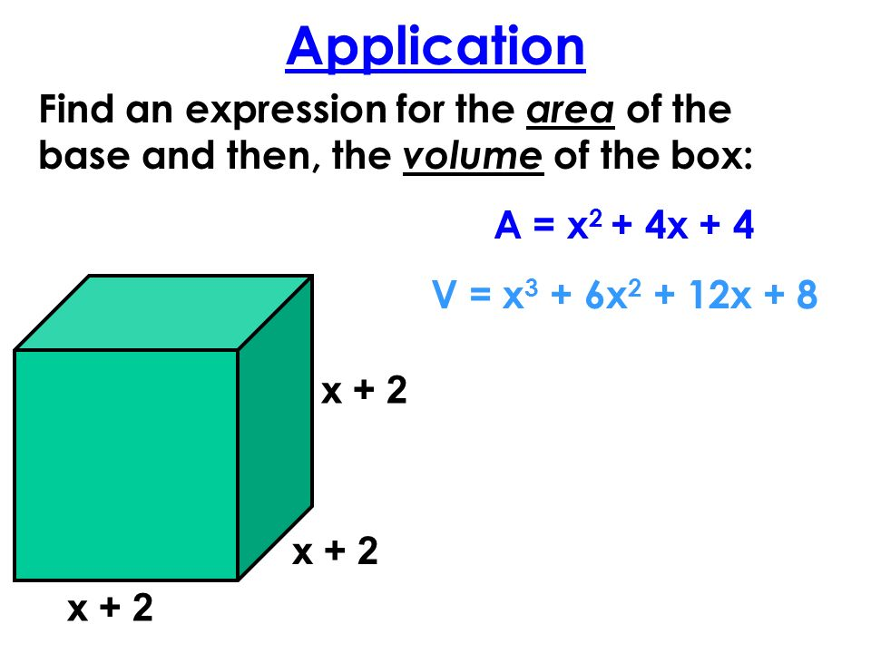 Application x + 2 Find an expression for the area of the base and then, the volume of the box: A = x 2 + 4x + 4 V = x 3 + 6x 2 + 12x + 8 x + 2