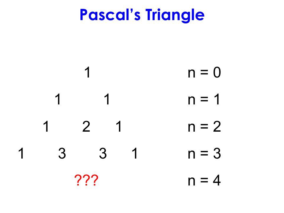 1n = 0 1 1n = 1 1 2 1n = 2 1 3 3 1n = 3 ???n = 4