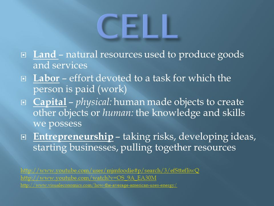 Land – natural resources used to produce goods and services Labor – effort devoted to a task for which the person is paid (work) Capital – physical: human made objects to create other objects or human: the knowledge and skills we possess Entrepreneurship – taking risks, developing ideas, starting businesses, pulling together resources     v=OS_9A_EA30M