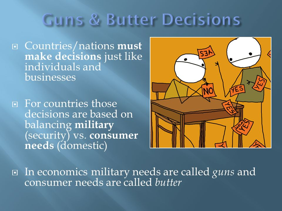 Countries/nations must make decisions just like individuals and businesses For countries those decisions are based on balancing military (security) vs.