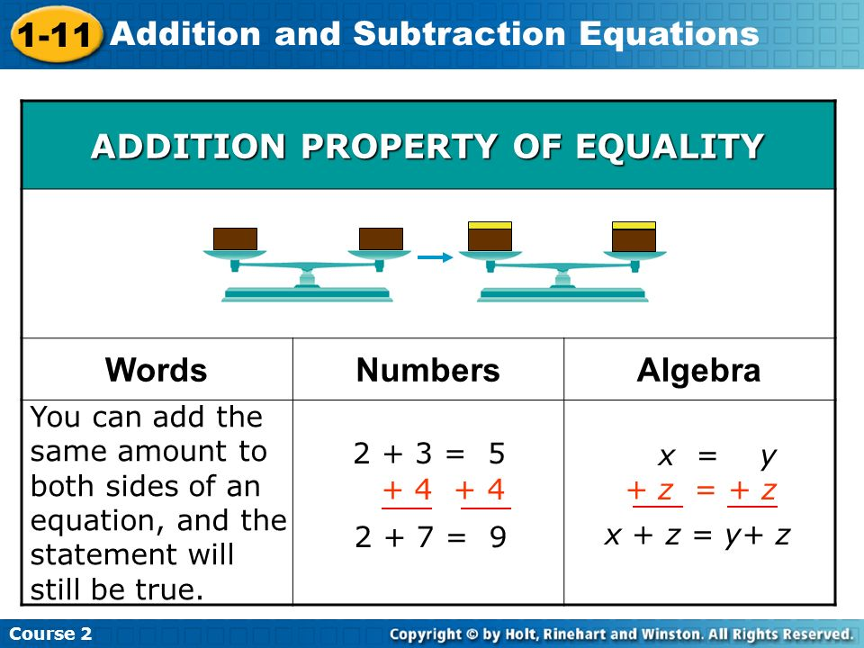 Course 2 1-11 Addition and Subtraction Equations You can add the same amount to both sides of an equation, and the statement will still be true. 2 + 3
