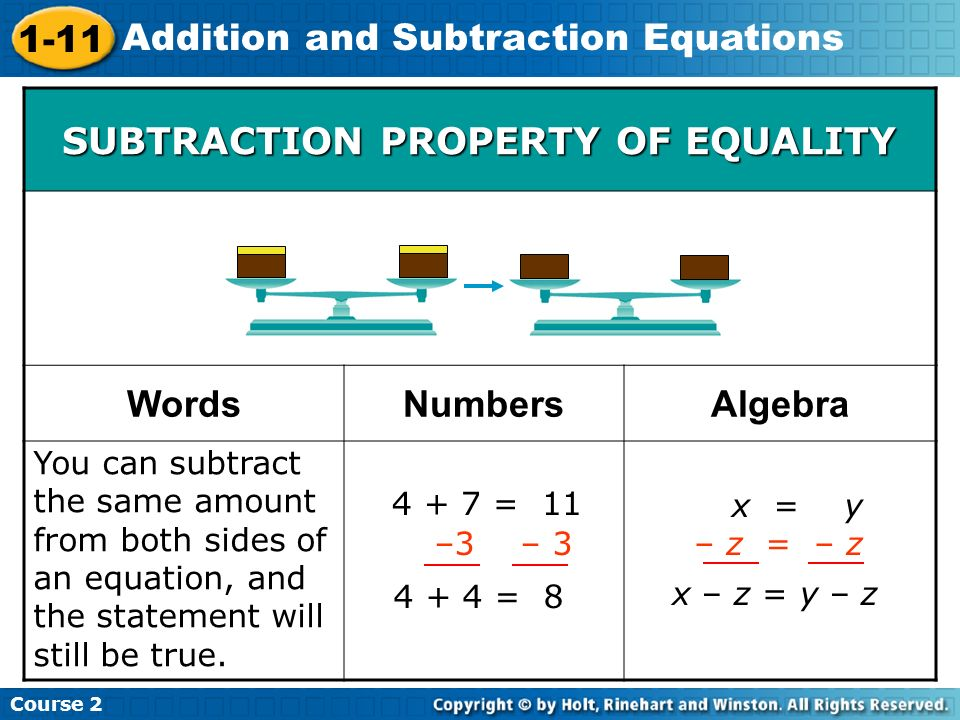 Course 2 1-11 Addition and Subtraction Equations You can subtract the same amount from both sides of an equation, and the statement will still be true
