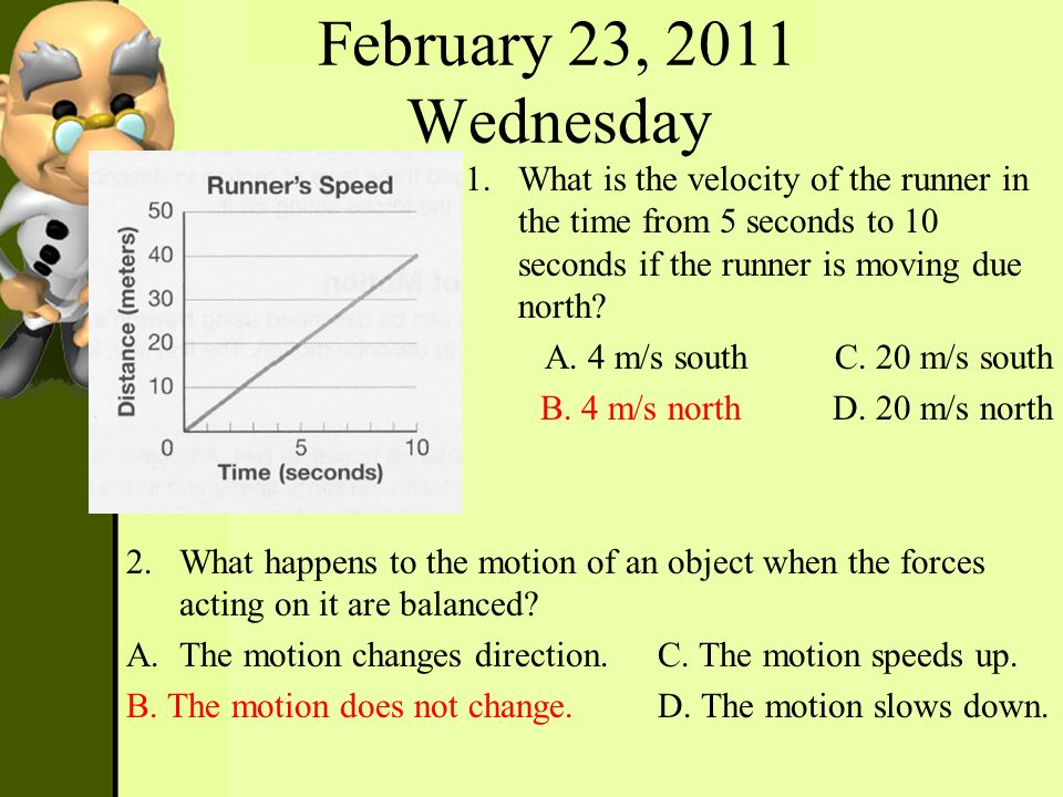 February 23, 2011 Wednesday 1.What is the velocity of the runner in the time from 5 seconds to 10 seconds if the runner is moving due north? A. 4 m/s