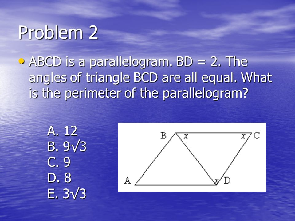 Problem 1 Which of the following could be a solution of the equation x = 4x - 3 Which of the following could be a solution of the equation x = 4x - 3 A.
