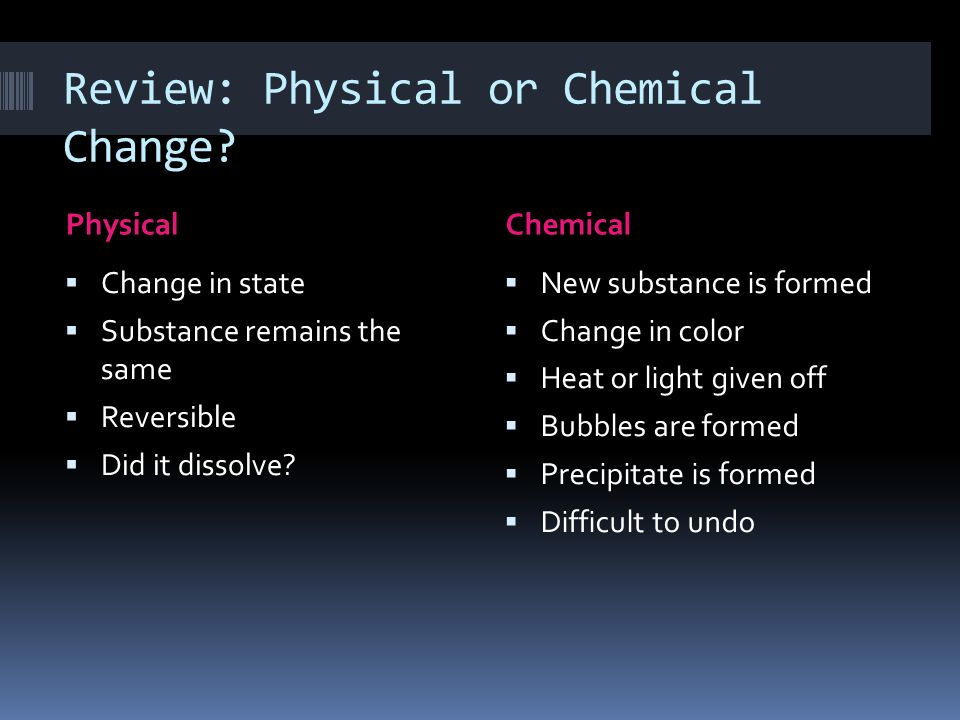 Review: Physical or Chemical Change? PhysicalChemical Change in state Substance remains the same Reversible Did it dissolve? New substance is formed C