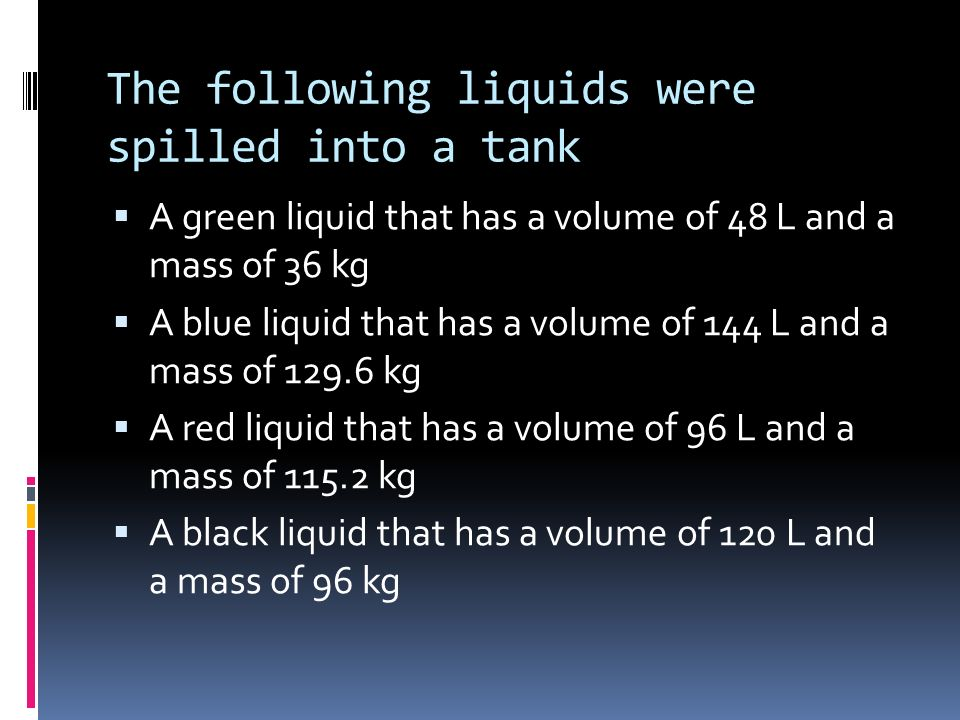 The following liquids were spilled into a tank A green liquid that has a volume of 48 L and a mass of 36 kg A blue liquid that has a volume of 144 L a