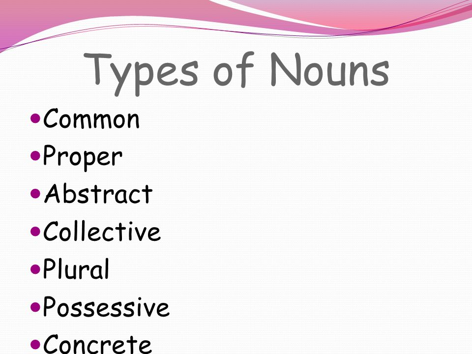 Types of Nouns Common Proper Abstract Collective Plural Possessive Concrete