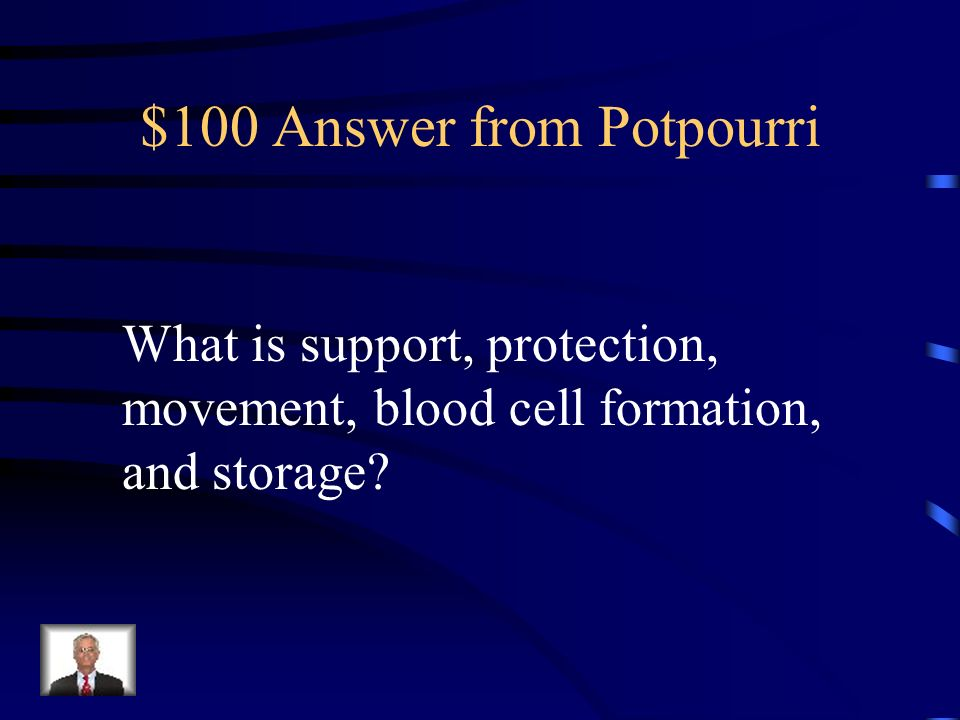 $100 Question from Potpourri Functions of the skeletal system include this... (Name Three)