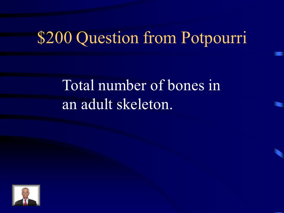 $100 Answer from Potpourri What is support, protection, movement, blood cell formation, and storage?