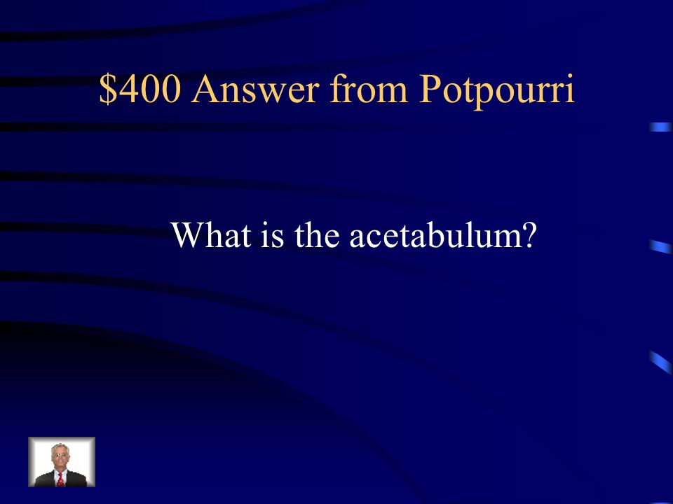 $400 Question from Potpourri The depression on the lateral surface of the hipbone that receives the head of the femur.