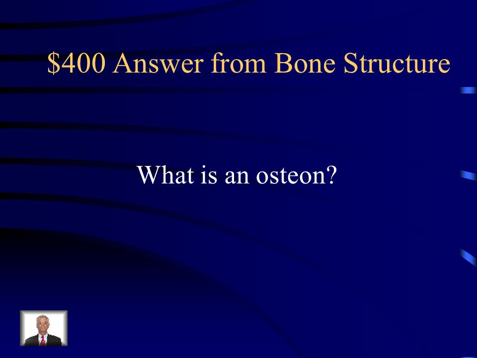 $400 Question from Bone Structure In compact bone, the osteocytes and surrounding matrix form a cylinder- shaped unit called this.