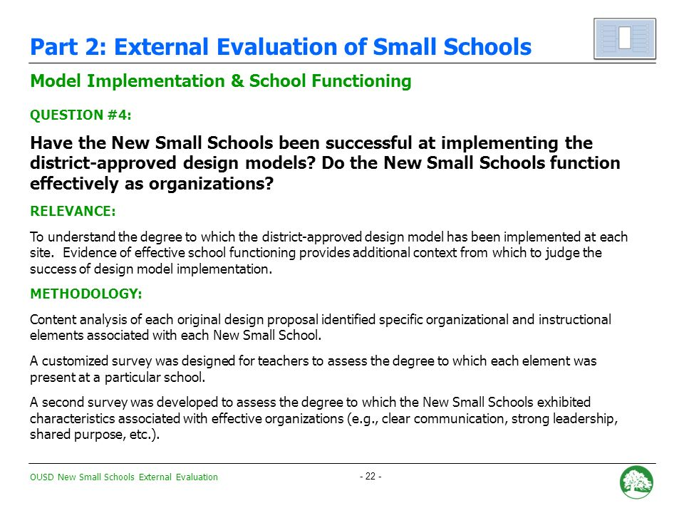 OUSD New Small Schools External Evaluation New Small Schools vs.