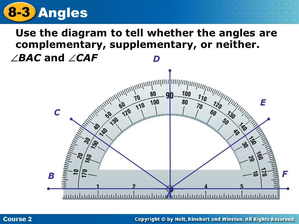 Use the diagram to tell whether the angles are complementary, supplementary, or neither. Course 2 8-3 Angles BAC and CAF C B D E F A
