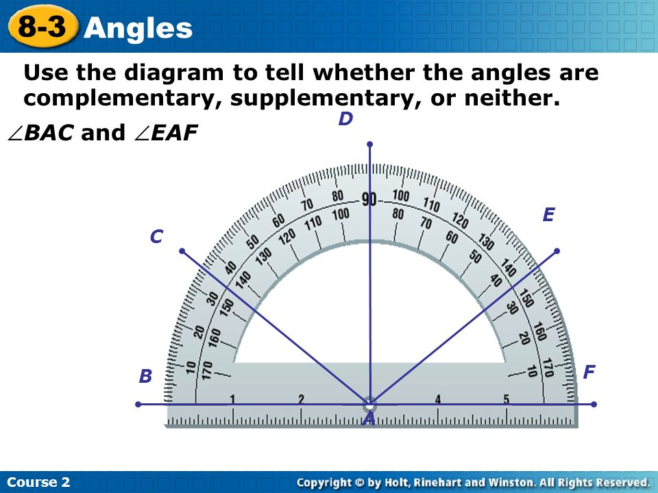 Use the diagram to tell whether the angles are complementary, supplementary, or neither. Course 2 8-3 Angles BAC and EAF C B D E F A